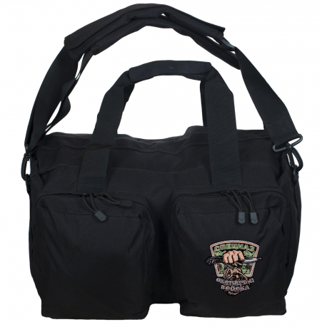 Функциональная черная сумка-рюкзак с нашивкой Охотничьего спецназа