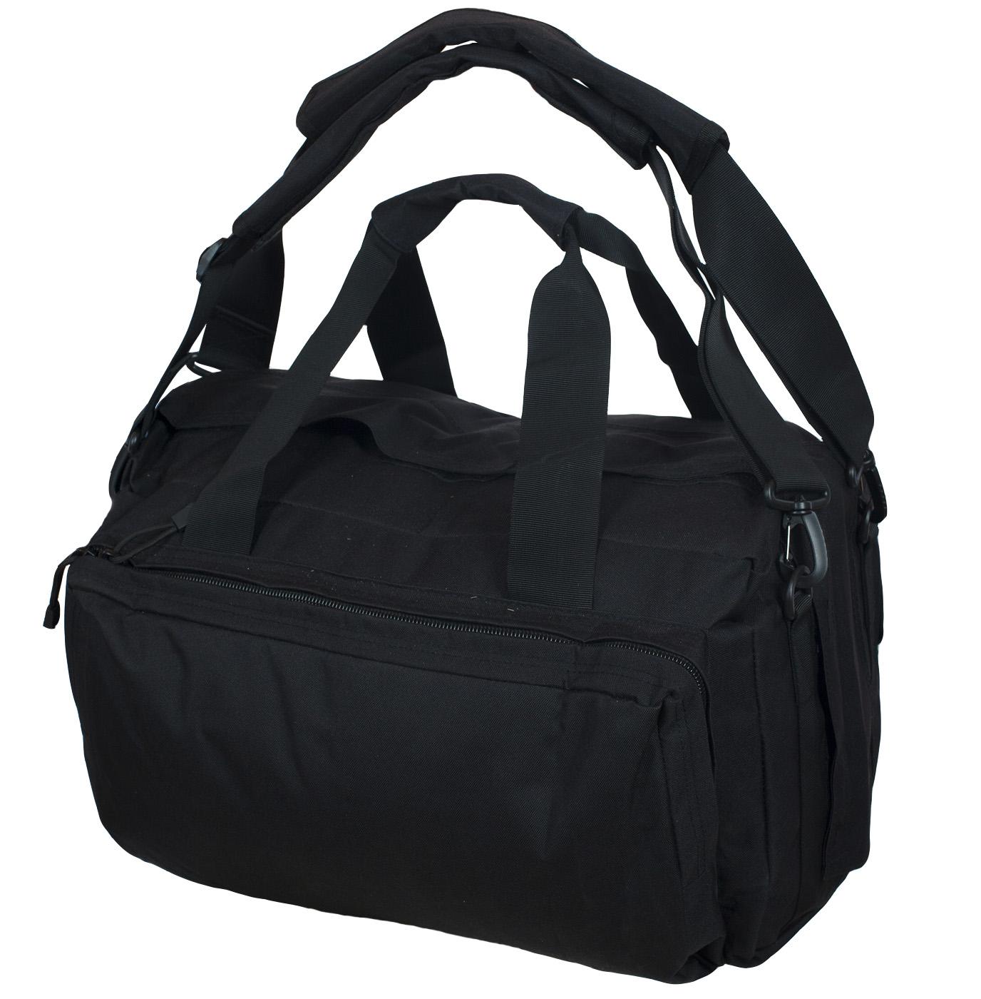 Функциональная черная сумка-рюкзак с нашивкой Охотничьего спецназа купить выгодно