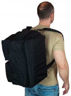 Функциональная черная сумка-рюкзак с нашивкой Охотничьего спецназа купить в розницу