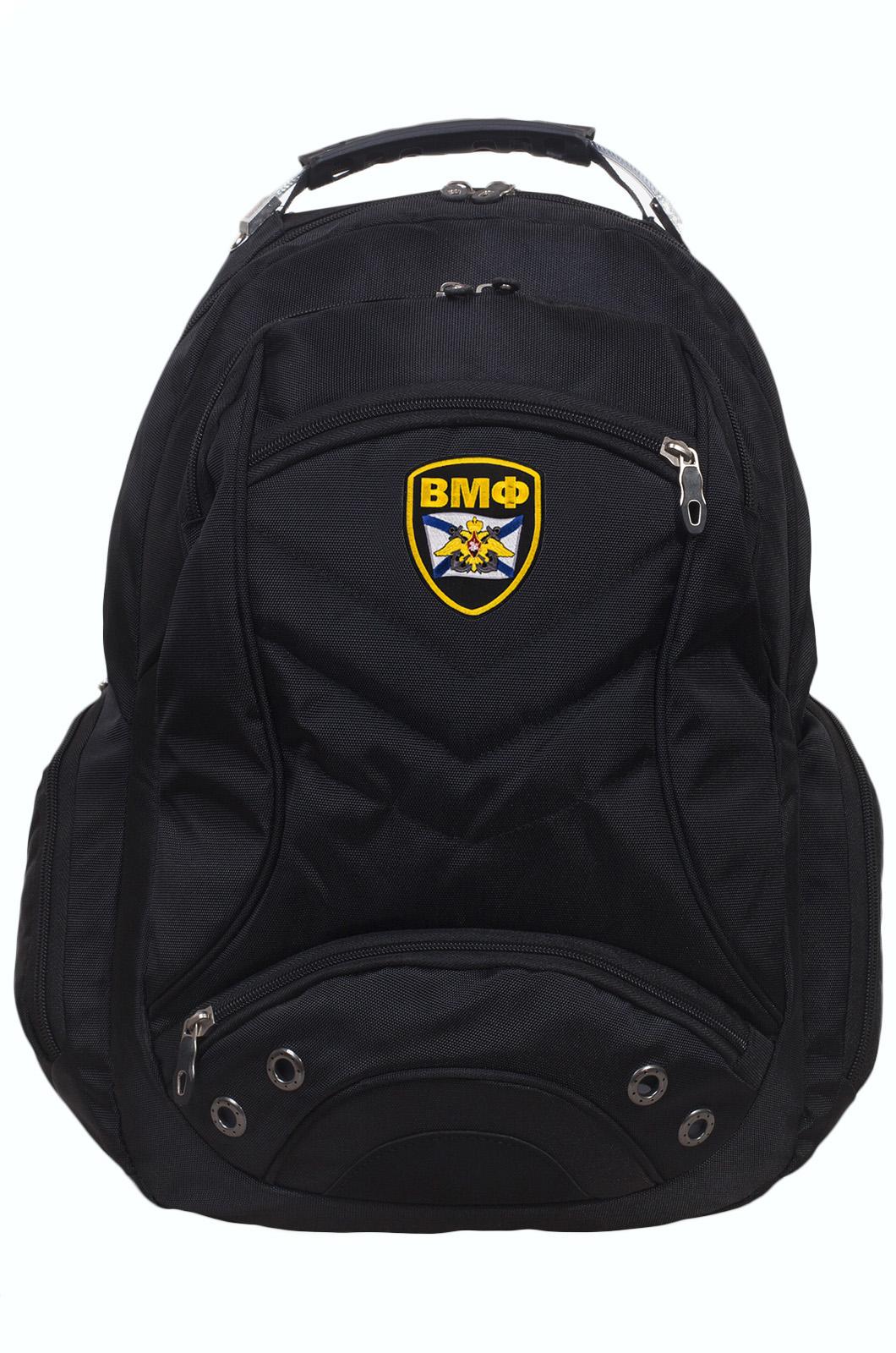 Функциональный черный рюкзак с шевроном ВМФ