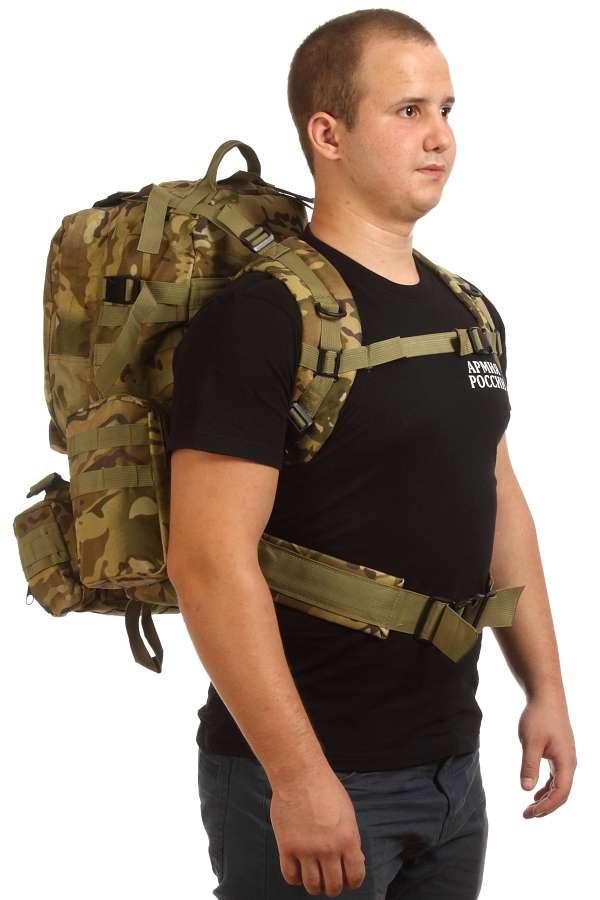 Функциональный вместительный рюкзак с нашивкой Герб России - купить оптом