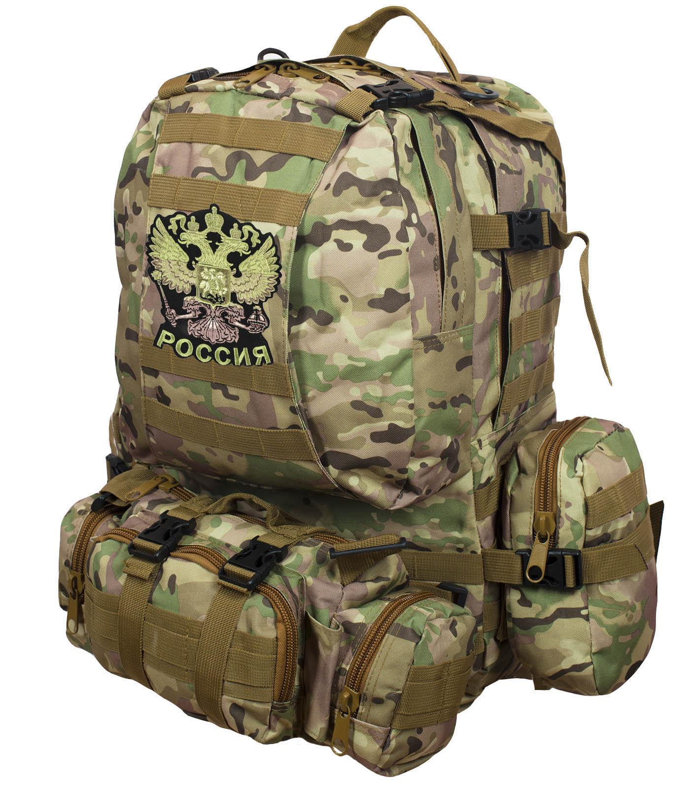 Функциональный вместительный рюкзак с нашивкой Герб России - купить в Военпро