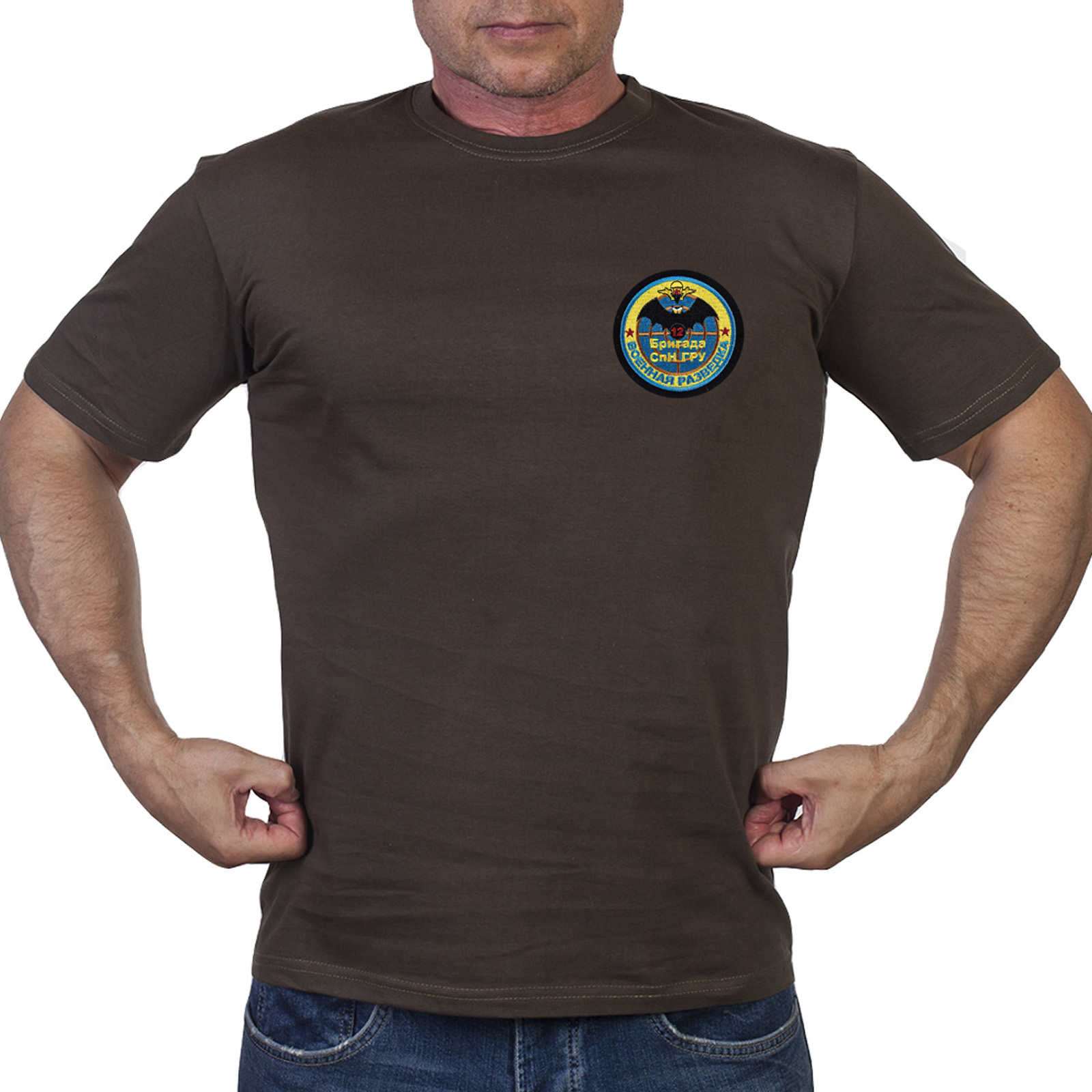 Оливковая мужская футболка 12-ой бригады СпН ГРУ
