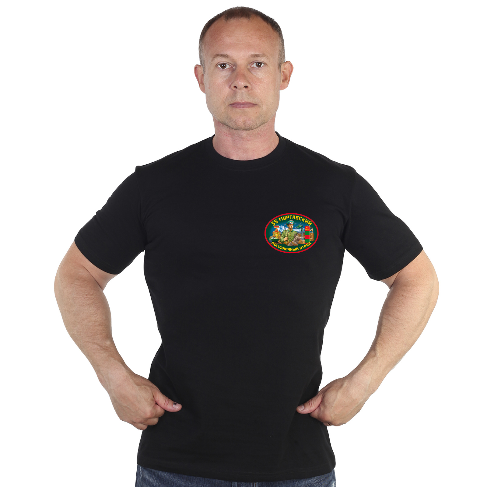 Заказать черную футболку 35 Мургабский погранотряд