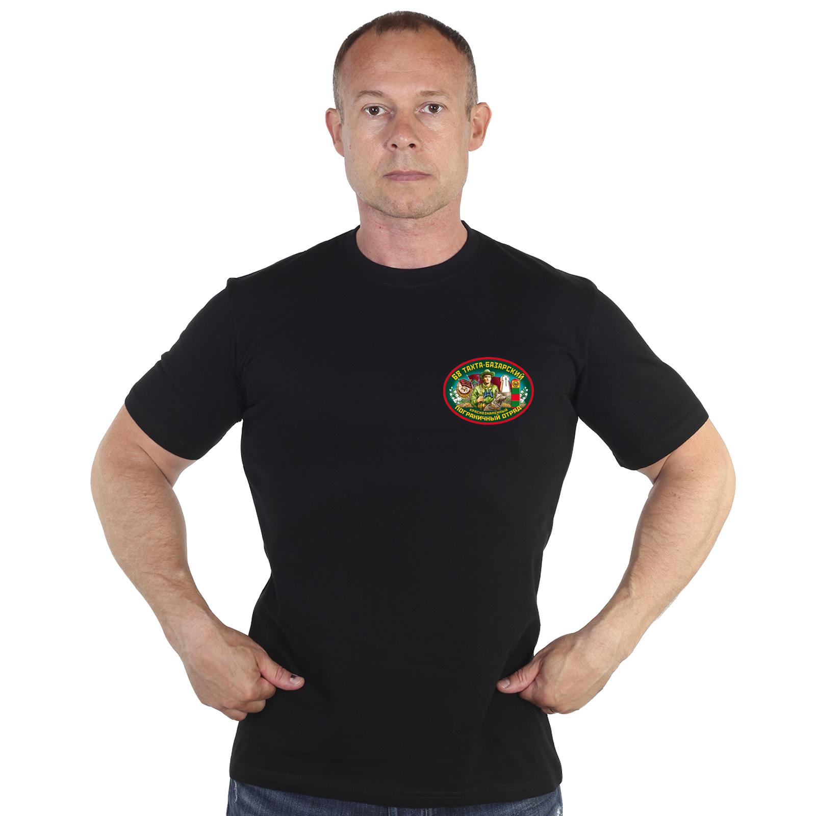 Мужская черная футболка с эмблемой 68-го Тахта-Базарского погранотряда