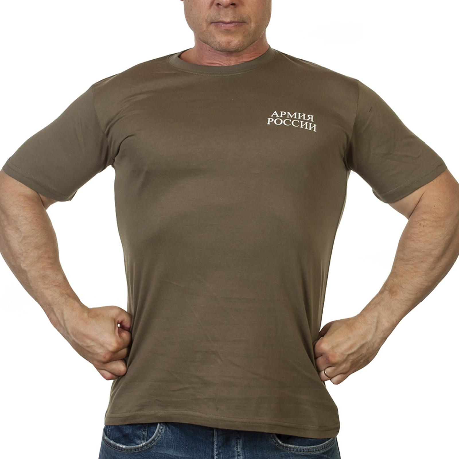 Оливковая военная футболка из хлопка