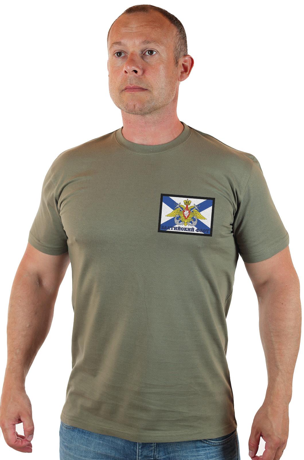Мужская футболка олива с шевроном «Балтийский Флот»