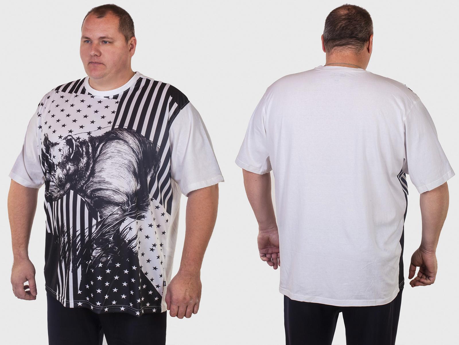 Черно-белая мужская футболка БАТАЛ от ТМ Ecko Unltd.