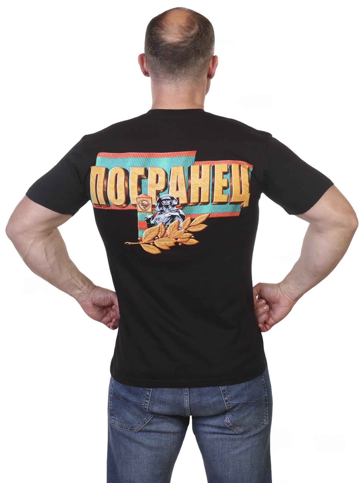 Черная футболка с Пограничным принтом по выгодной цене