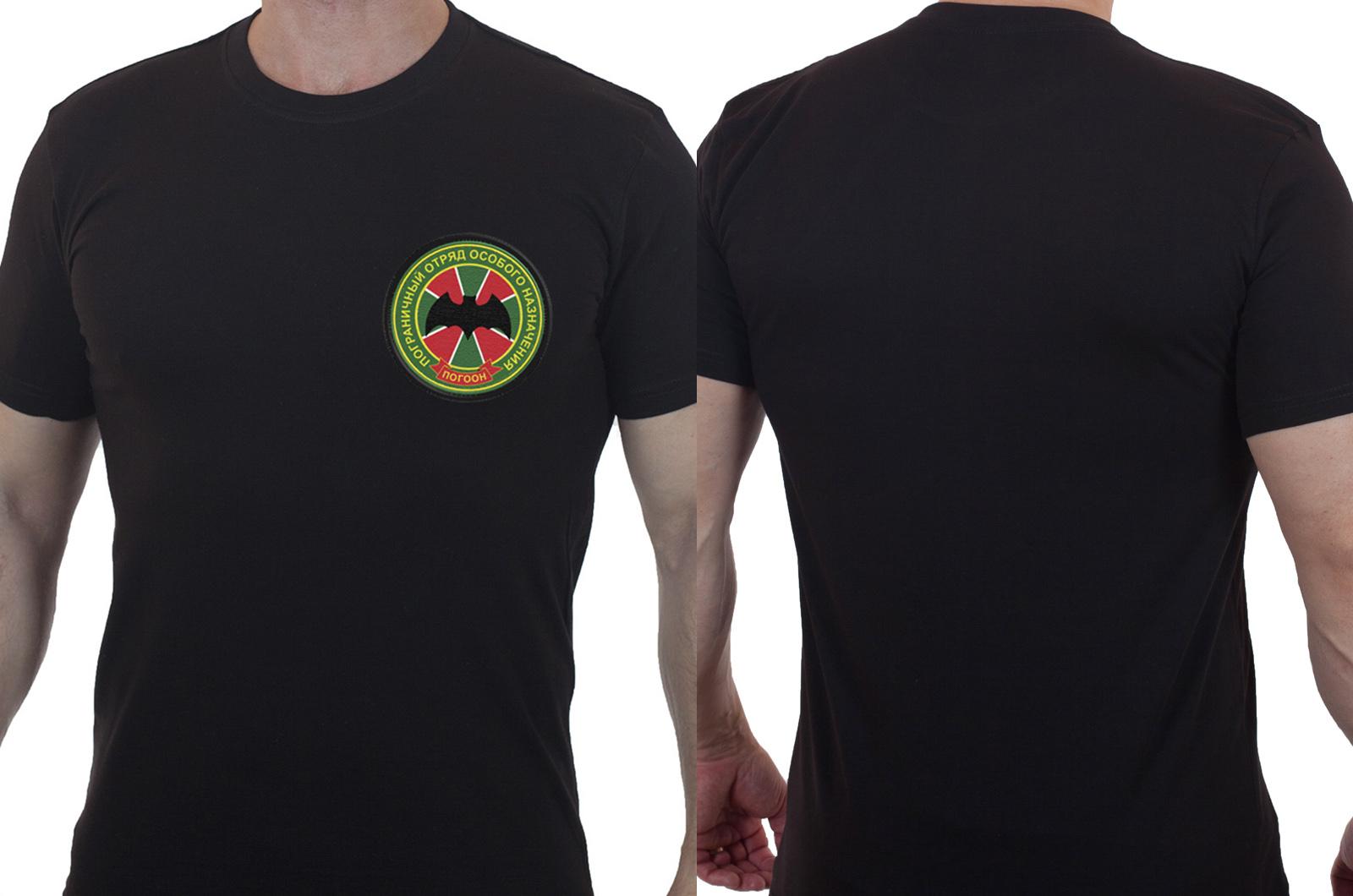 Футболка черная с вышитой эмблемой ПОГООН - заказать в подарок