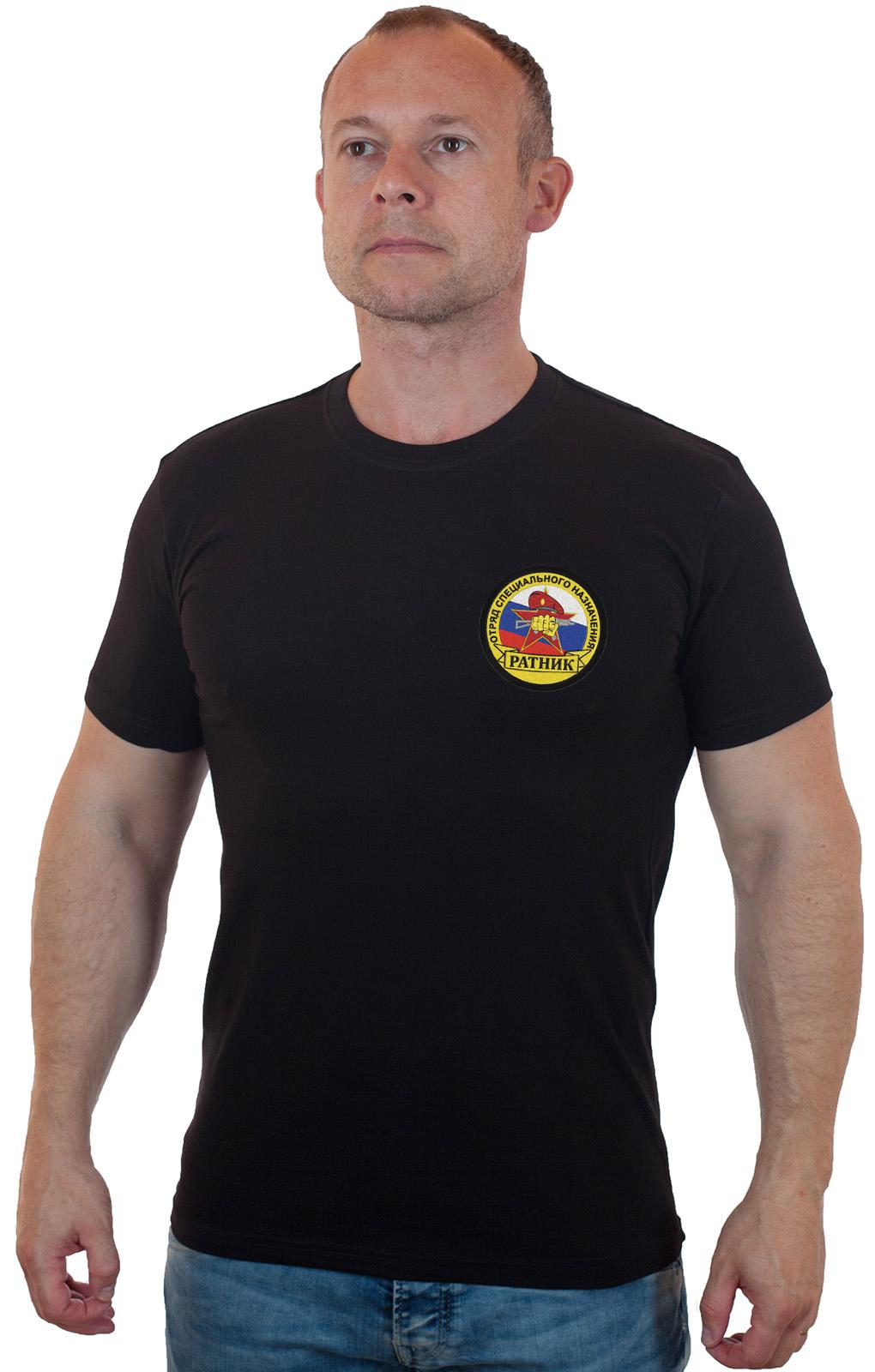 Футболка черная с вышитым шевроном ОСН Ратник - заказать оптом