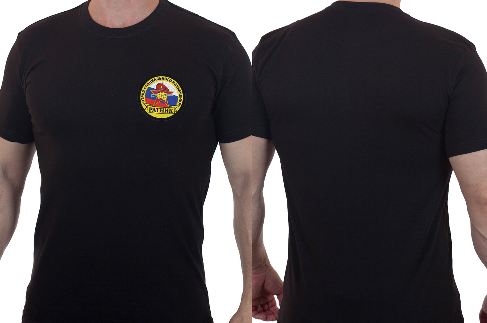 Футболка черная с вышитым шевроном ОСН Ратник - заказать с доставкой