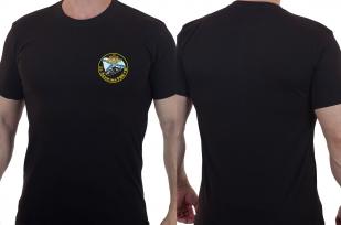 Футболка черная с вышитым шевроном ВМФ 25 дивизия РПК СН - купить в Военпро