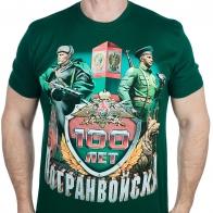 Мужская зелёная футболка с погран-принтом