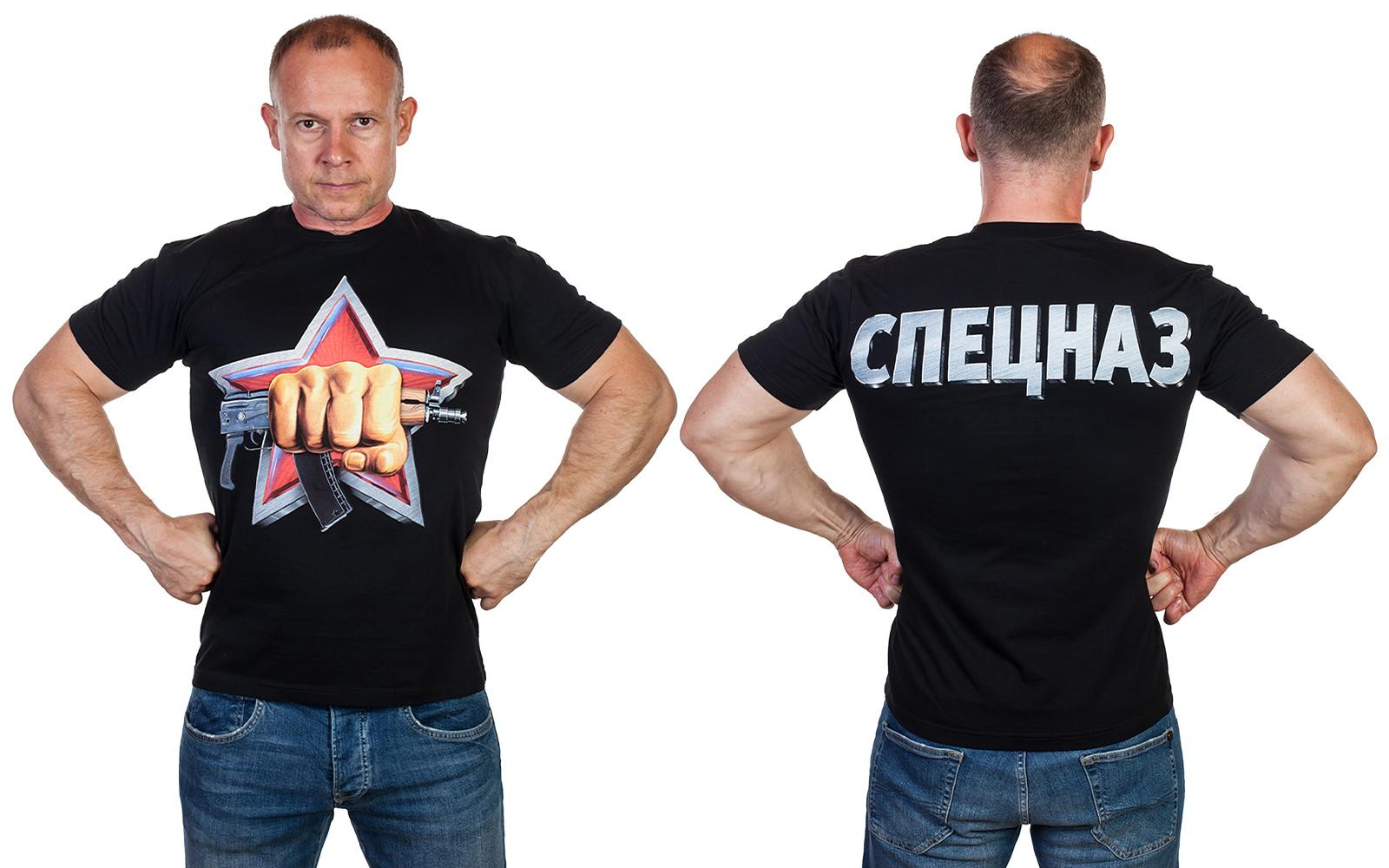 Мужская черная футболка с эмблемой спецназа Росгвардии