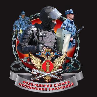 """Черная футболка """"ФСИН России"""" с принтом"""