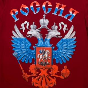 "Футболка ""Герб РФ"" - принт триколор"