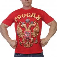 Красная футболка с гербом РФ
