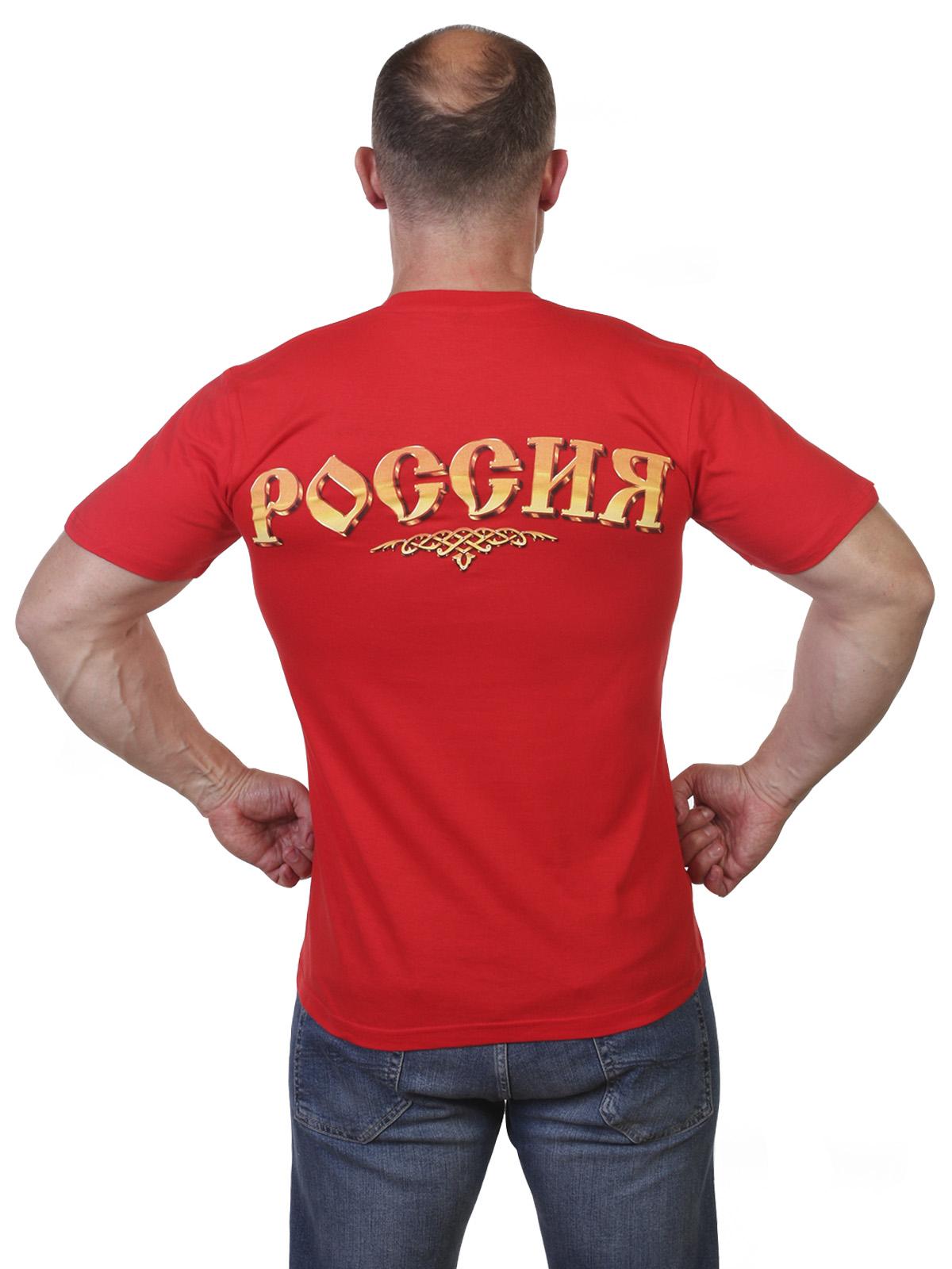 Красная футболка с гербом РФ по лучшей цене