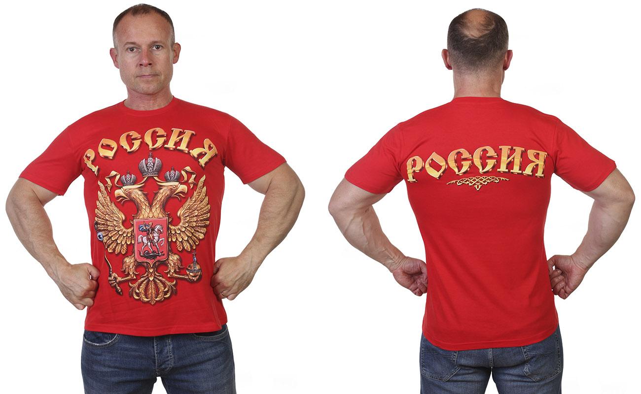 Красная футболка с гербом РФ с доставкой