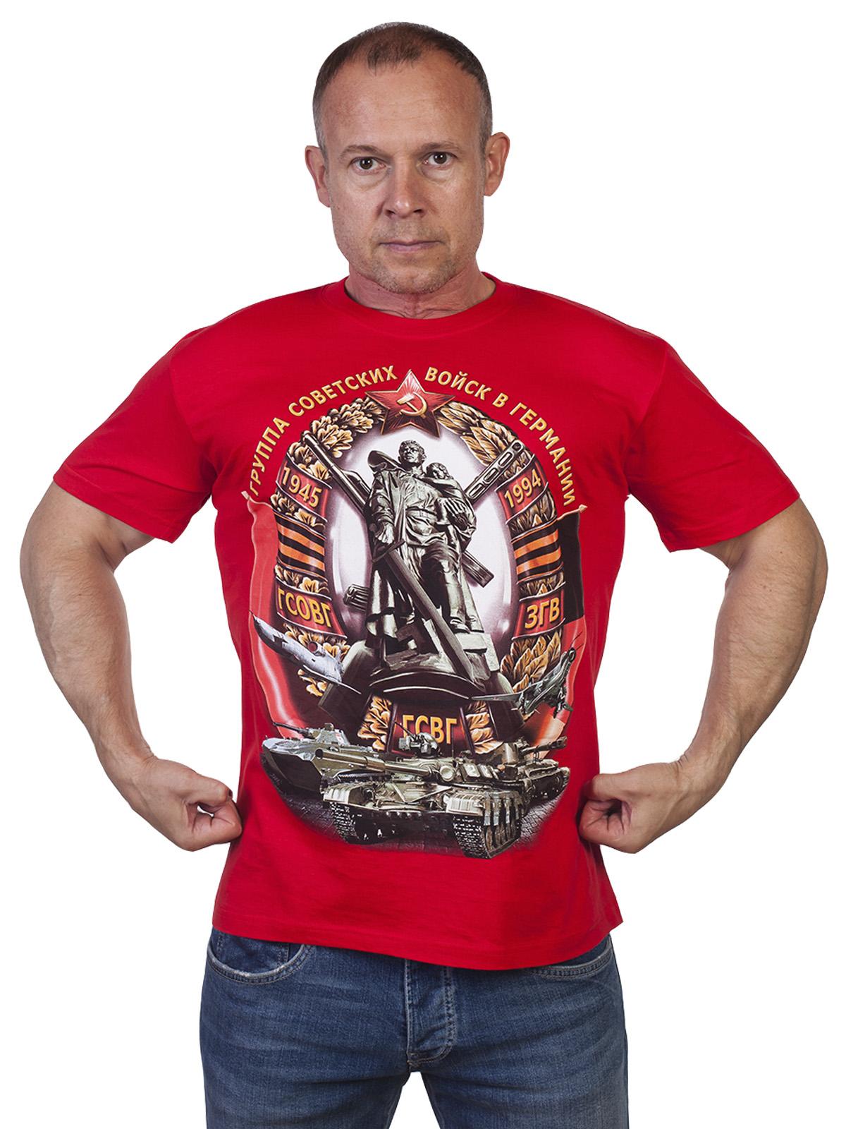 Красная мужская футболка с принтом ГСВГ