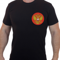 Футболка хлопковая с вышитым гербом России