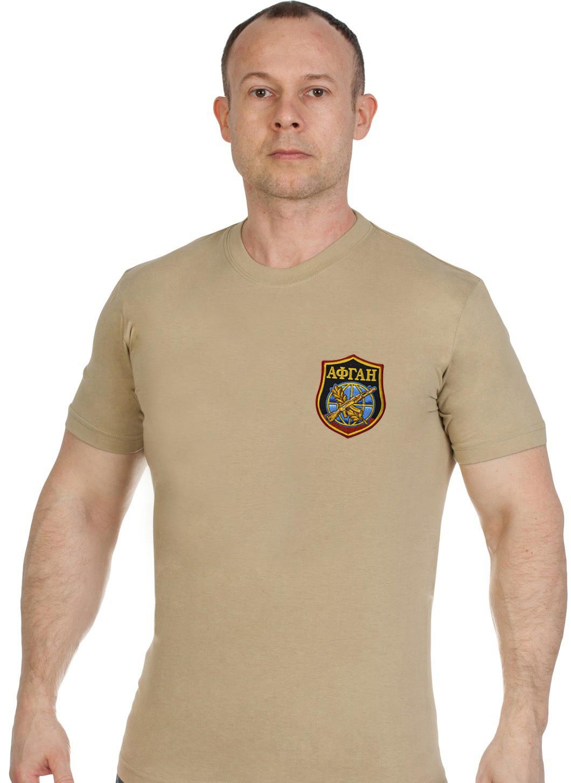 Купить футболку классическую мужскую с вышитым шевроном АФГАН по выгодной цене