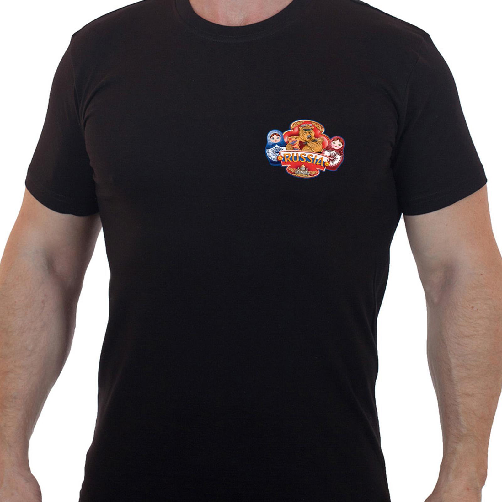 Купить футболку мужскую черного цвета