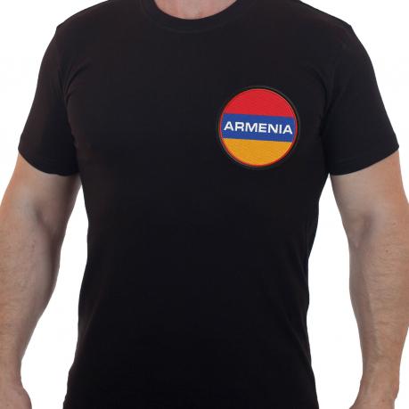 Футболка мужская с вышивкой Флаг Армении