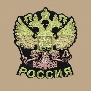 Футболка надежная мужская с вышитым полевым Гербом России