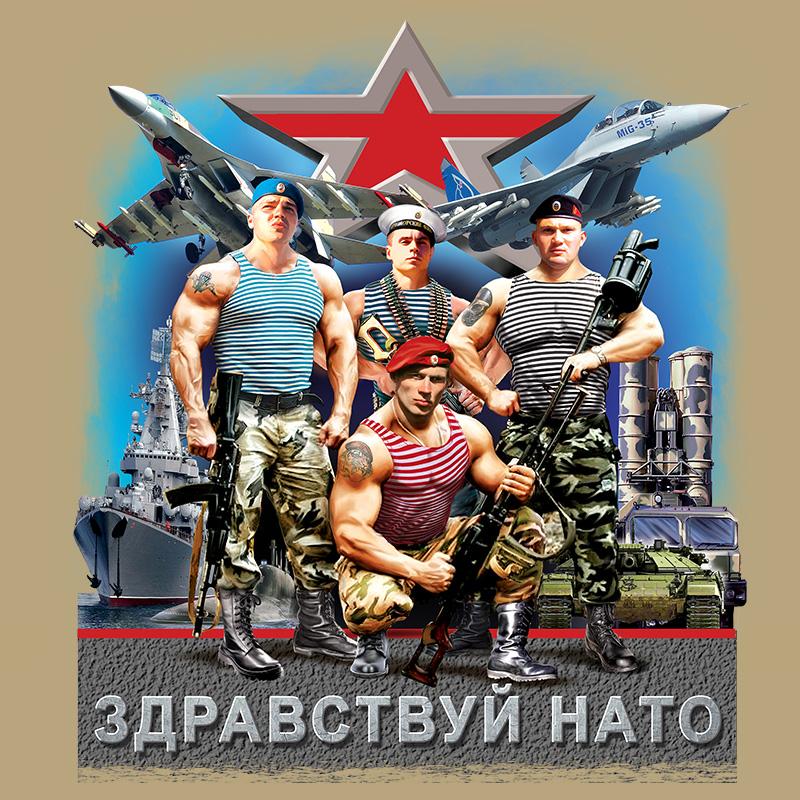 """Футболка """"НАТО, Армия России"""" с авторским принтом"""