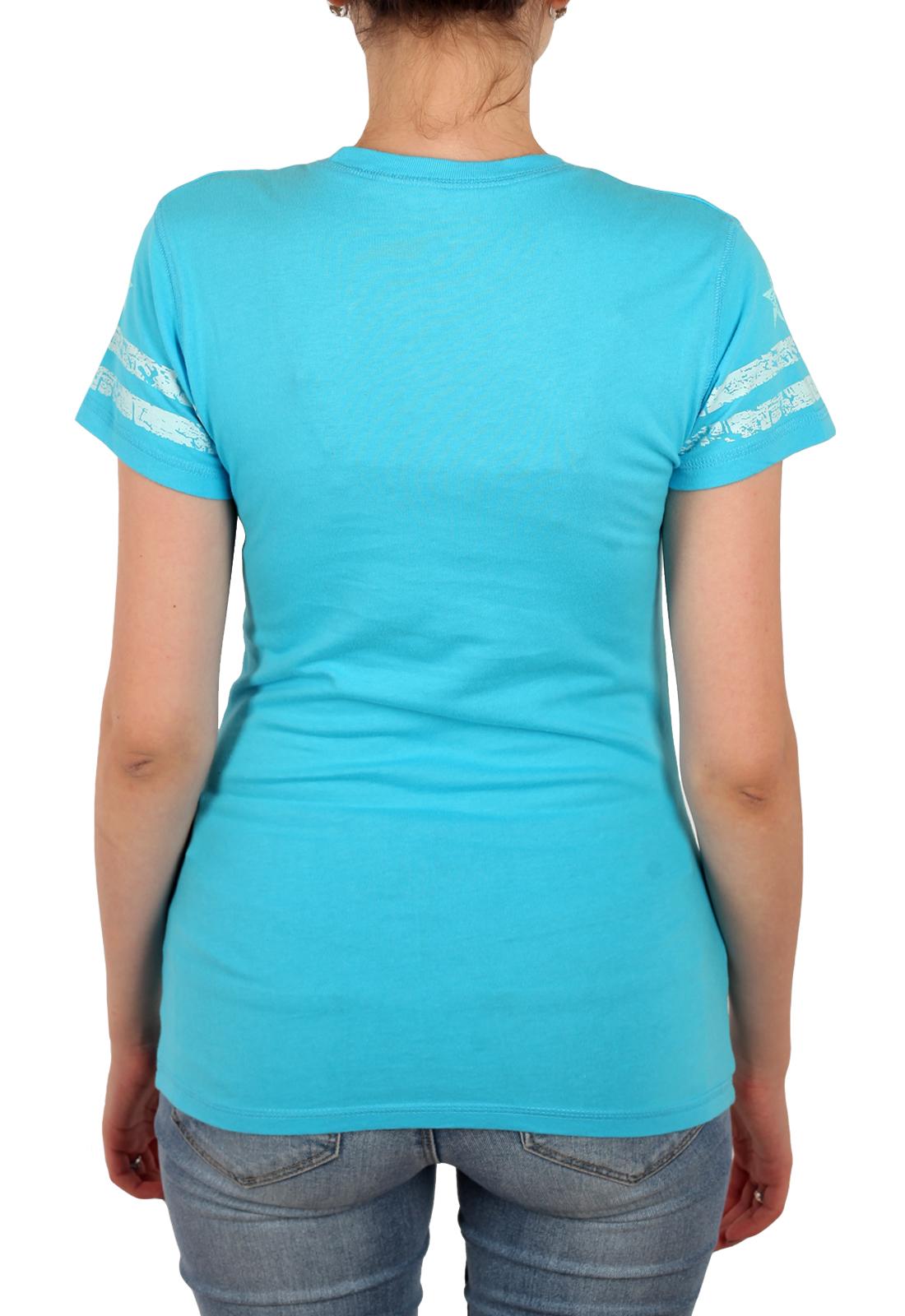 Яркая женская футболка Planet Hollywood. Натуральный хлопок, женственный бирюзовый цвет и модный печатный принт