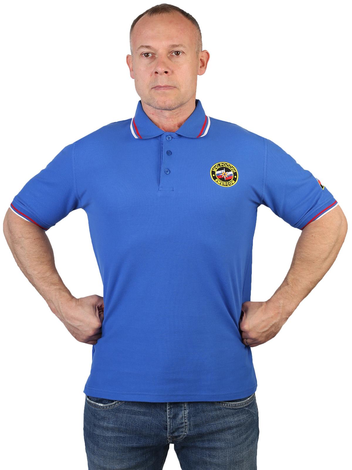 Голубая футболка поло с символикой МЧС России