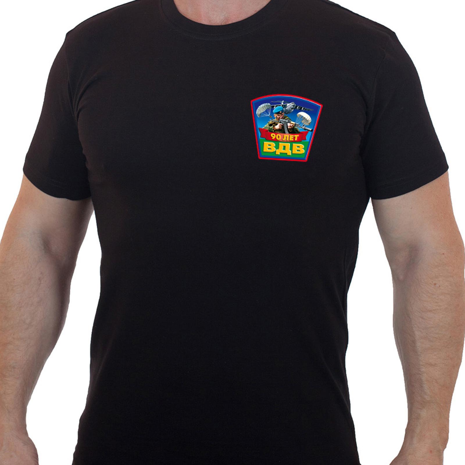 Черная футболка с принтом 90 лет ВДВ
