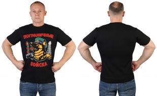 Черная футболка с принтом пограничников