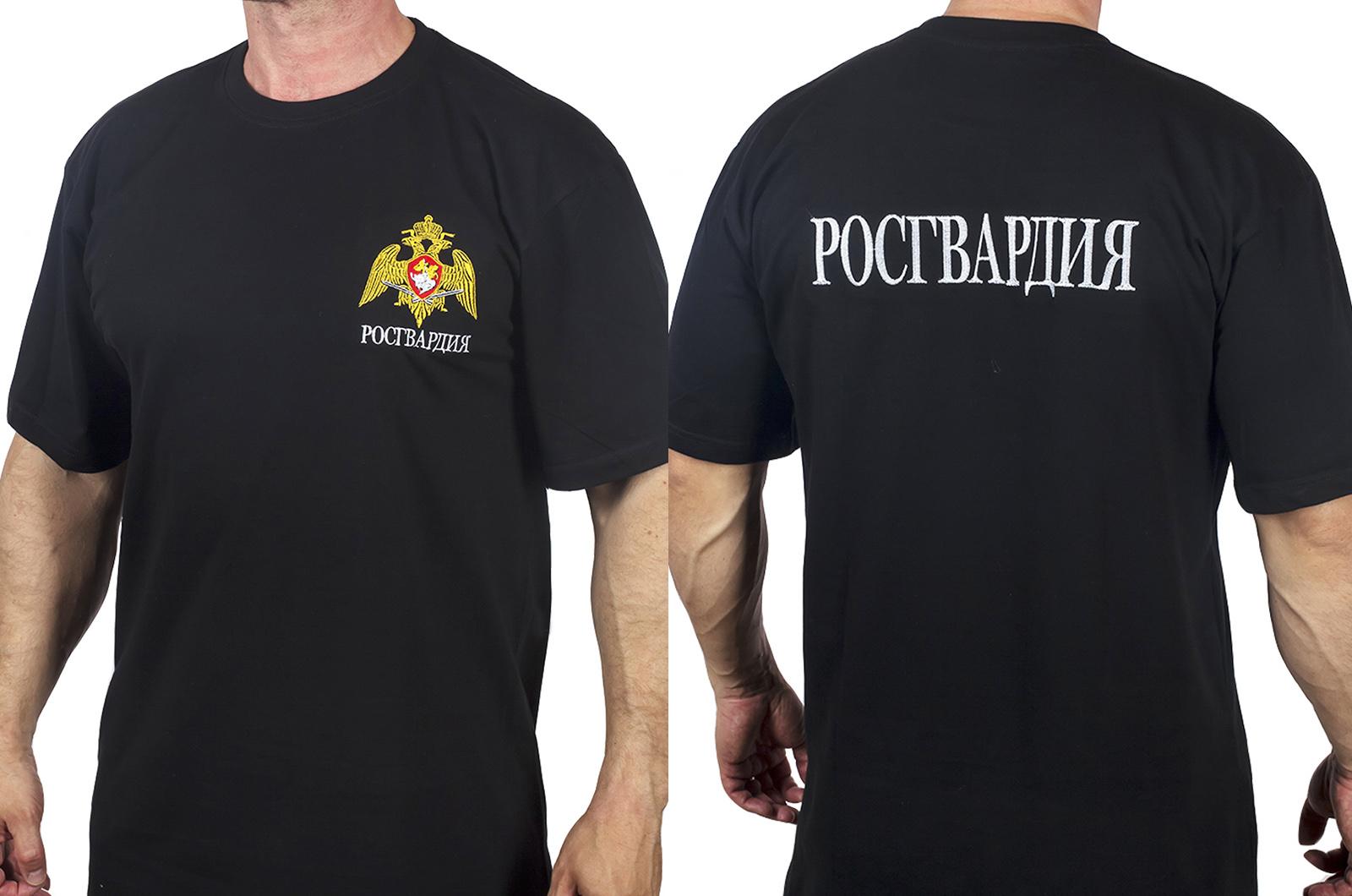 """Черная мужская футболка """"Росгвардия"""" с вышивкой"""
