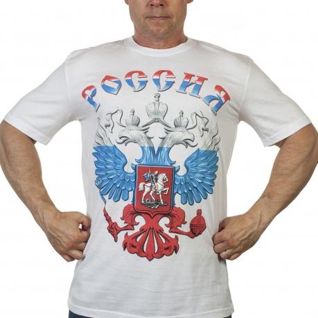 Белая футболка с гербом России