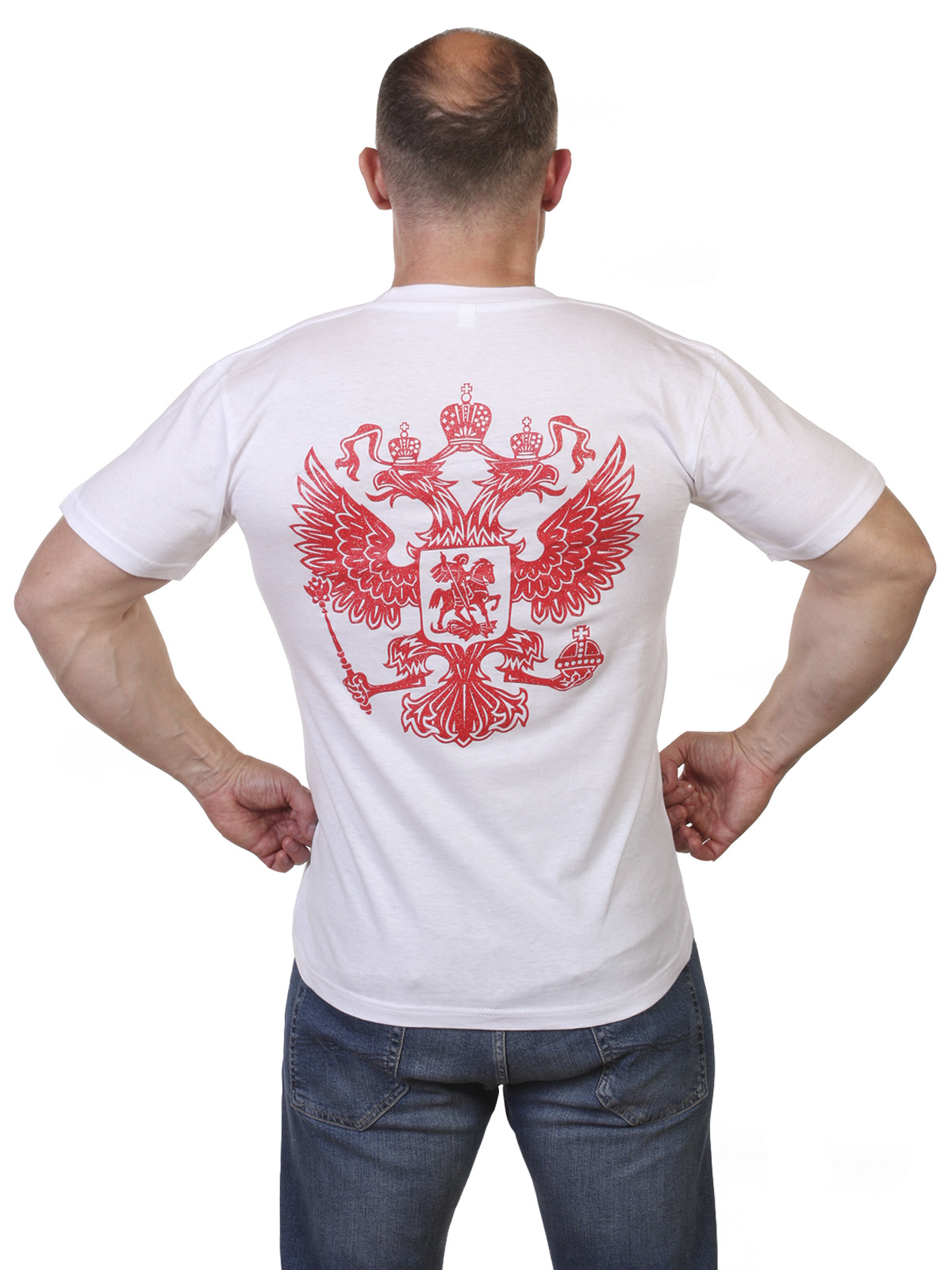 Белая футболка Россия по выгодной цене