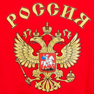Красная футболка Россия с гербом