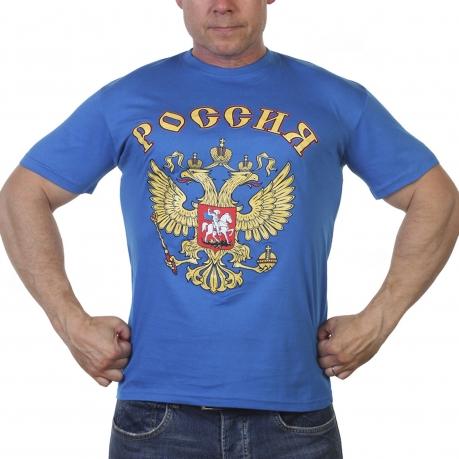 Синяя мужская футболка Россия