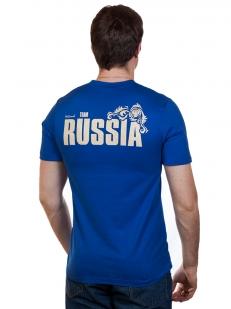 Футболка RUSSIA «Всех порвём красиво!» синяя