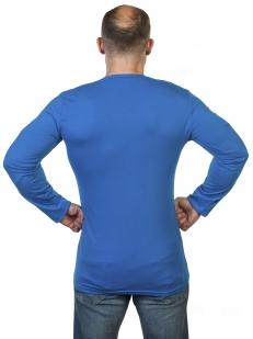 Синяя однотонная футболка Армия России с длинными рукавами
