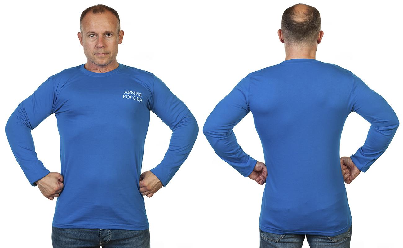 Синяя армейская футболка с длинным рукавом