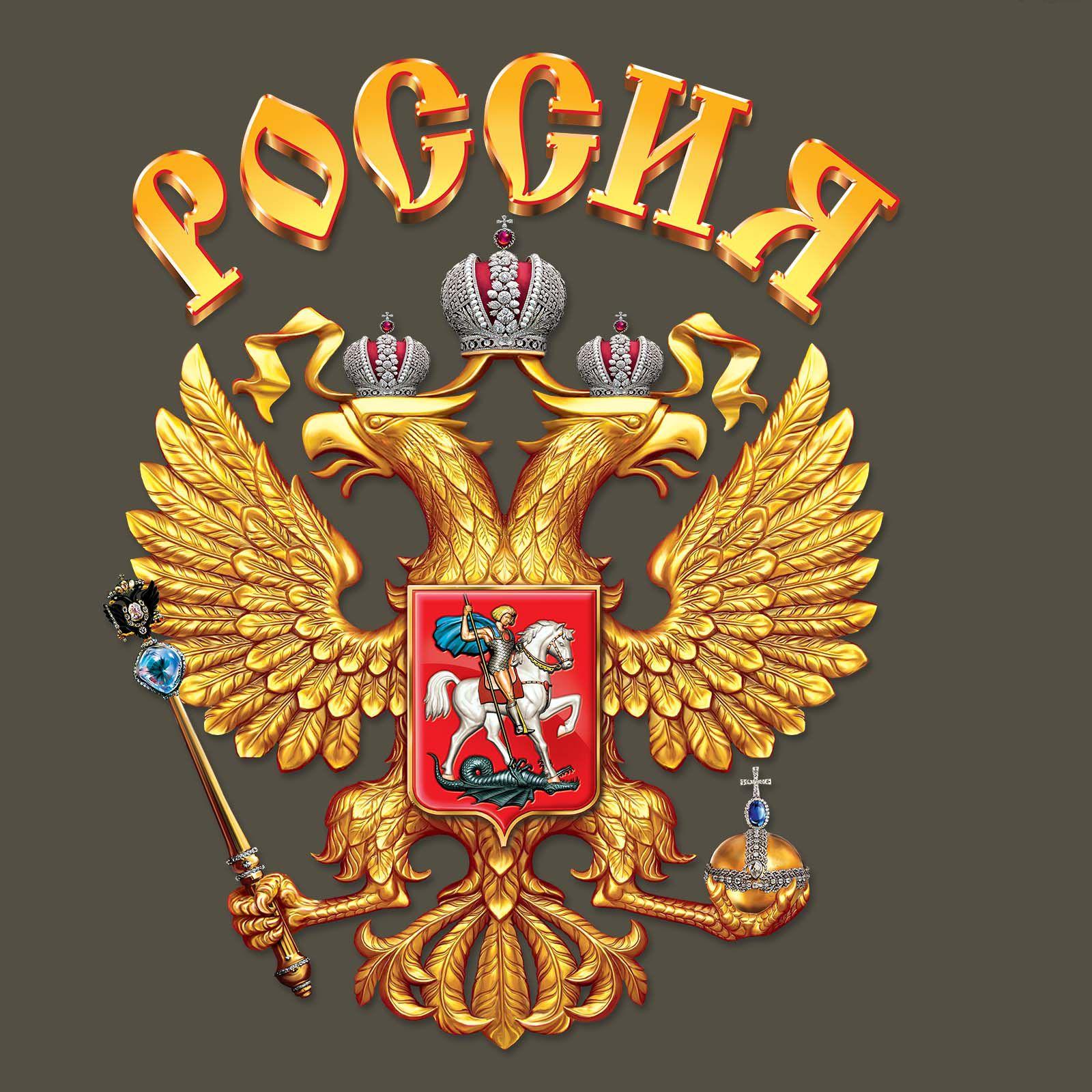 Футболка с гербом и надписью Россия