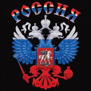 Футболка с гербом России - цветной принт