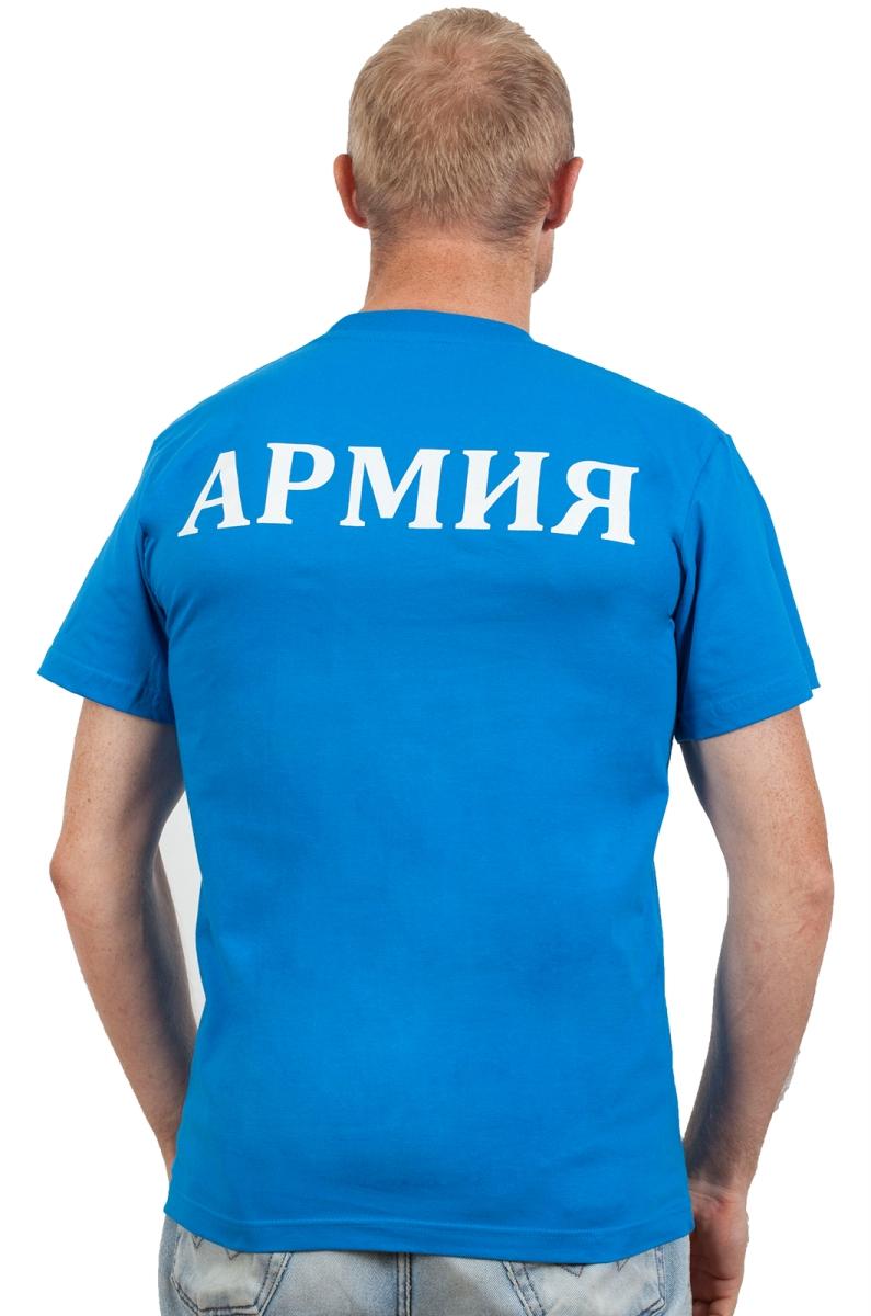 Футболка с надписью «Армия» синяя-вид со спины