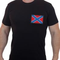 Черная мужская футболка с официальным флагом Новороссии