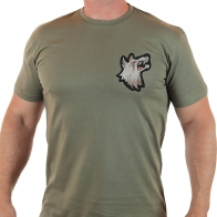 Мужская милитари футболка с оскалившимся волком