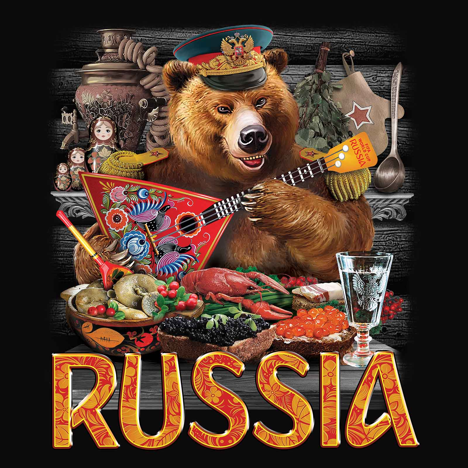 Футболка с русским медведем - цветной принт