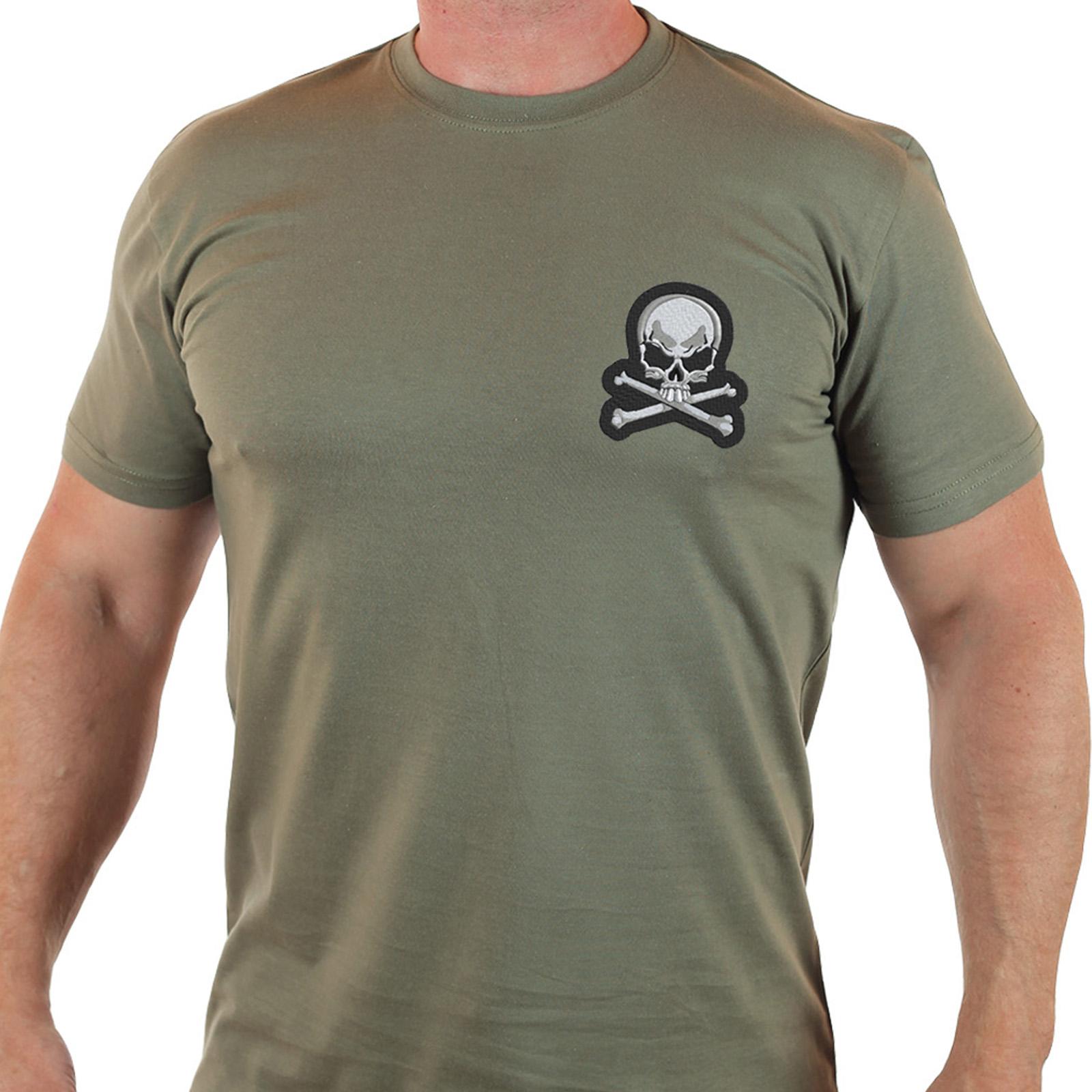 Запоминающаяся мужская футболка с вышитым черепом